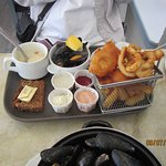 My wife's Atlantic seafood platter at The Boatyard
