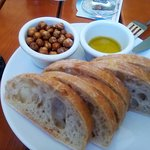 Ciabatta with Roasted Chickpea and olive oil.
