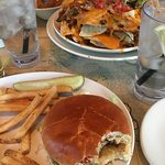 Cheeseburger in Paradise, Volcano Nachoes, what's left of Onion Rings.