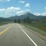Heading toward the campground, Hahn Peak in distance