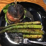 Portobello Mushroom Sandwich with Grilled Seasoned Asparagus. Yum!