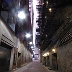 The back alley of the Oriental Theater (Iroquois Theater)