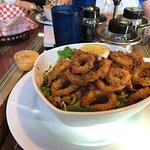 Fried Calamari over salad