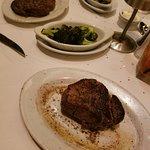 The steak closest is the 11oz filet, sauteed garlic broccoli, the 16oz ribeye.