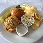 crabcake sandwich with coleslaw