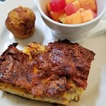 Breakfast Strata with fruit and a mini pumpkin muffin