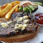 A large grilled steak & chunks - perfect fare for soaking up lots of good brews!