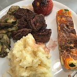 Beef with veggies, veggie flan and potato puree