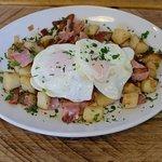 Hash bacon,onions.sauteand poached eggs