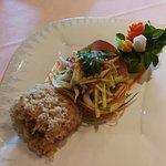deep fried fish with mango salad