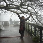 wife and this fat boy in background-- see the fog