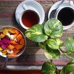 fruits salad.... and coffee or tea..