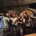 Having fun in the wine cellar!
