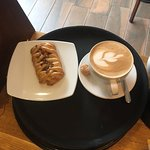Maple & pecan pastry with flat white