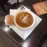 Home made minestrone soup served with ciabatta bread