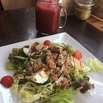 Berry buzz 100% fruit smoothie with tuna and egg salad