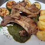 lamb with green pesto sauce