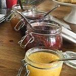 several delicious jams and marmalades