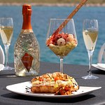 Exclusive breakfast with shrimp cocktail and a glass of champagne