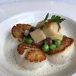 Seared diver scallops, shiitake mushrooms, potato gnocchi, lemon beurre blanc