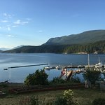 The view from the patio. A few boats at a government dock and Desolation Sound as a backdrop