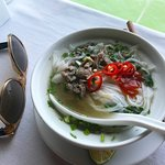 Fresh steaming hot beef pho, care of the amazing chef aboard the good ship Indochina Sails.