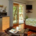 Village Cabin interior, Queen bed, kitchenette