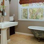Village Cabin clawfoot bathtub, separate shower