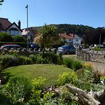 The front garden at Lymehurst B&B with views up to The Great Orme