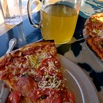 Puttanesca Pizza with a jar of my favorite cider.