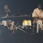 Older Ethiopian Jewish Israeli musicians perform in honor of Jerusalem (see Temple Mount in back
