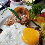 Liver with onion and egg Breakfast