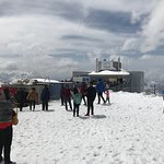 tourists on the Titlis glacier field