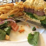 The surprise burger! 10 star for taste & LOVE the bun with cheese baked into the under side.
