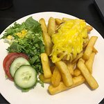 Vegan Parmo with side salad and homemade chips