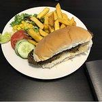 Seitan Stake Bun with Chipsand Side Salad