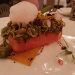 Watermelon Slider, topped with chaat and mint masala. Must try!!