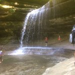 behind the falls in LaSalle Canyon