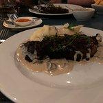 Steak, mash and mushroom sauce