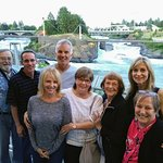 Family visit overlooking Spokane Falls from Anthonys Restaurant