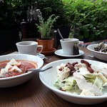 Томатный суп с фетой, цезарь с вялеными помидорами, травяной чай. (Всего 300 руб.!!!!!!)!