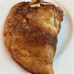 Omelett til over 100kr! Litt ost og skinke inni, ikke spesielt god😞