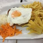 Alheira (sausage) with egg and fries