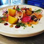 Brown sugar cured salmon, beets, pickled mustard seeds