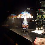 The bar area with lovely lighting