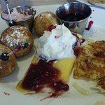 Try the Cake Plate: Danish Aebelskivers, Swedish pancake, German potato pancake.