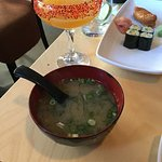Tequila, mango and chilli cocktail and miso soup