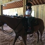 My granddaughter,s first ride on a big horse. She actually rode by herself for about 45 minuets
