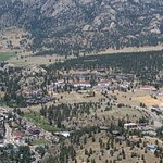 Estes Park and the Stanley Hotel from the top of the Arial Tramway