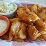 Fish and chips with rockfish. I wish they didn't serve coated fries. Not good at all.